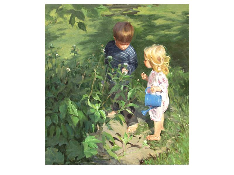 painting of 2 children in the garden